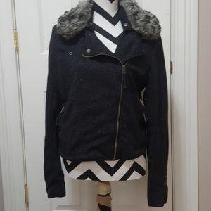 Aeropostle short jacket.  Faux fur collar.